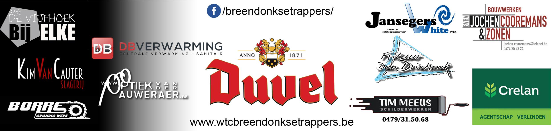 Logo's van de sponsors van de Trappers in 2018
