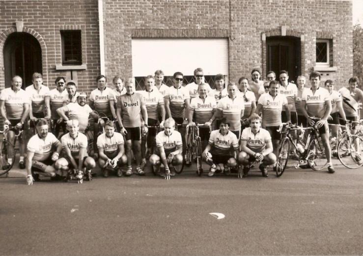 Groepsfoto van de trappers in het oprichtingsjaar 1991
